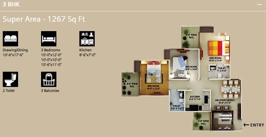 Supertech eco village 1 Floor Plan - 3 BHK